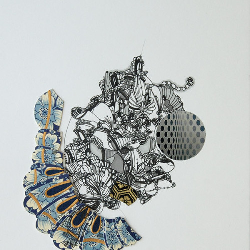 Untitled, Drawing, Pen and Ink on Paper, Mixed Media, Collage