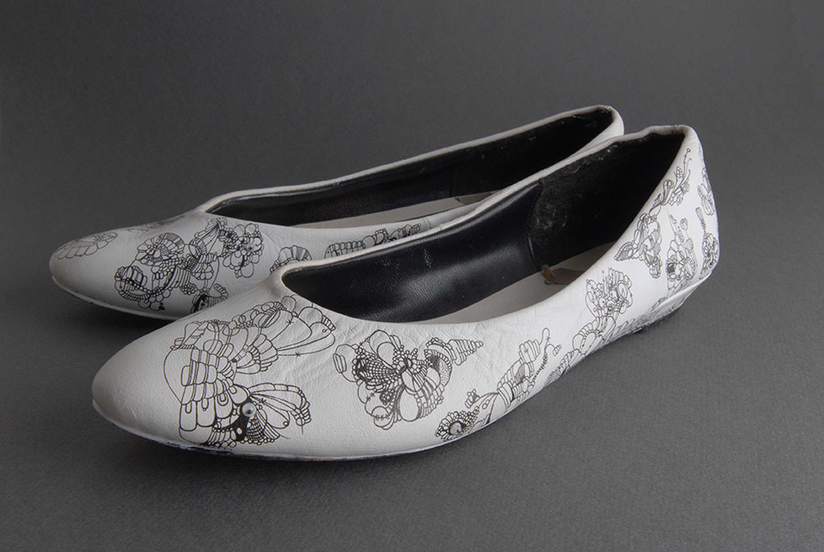 Shoes I Wore to My Sister's Sweet Sixteen, Automatic Drawing on Found Object