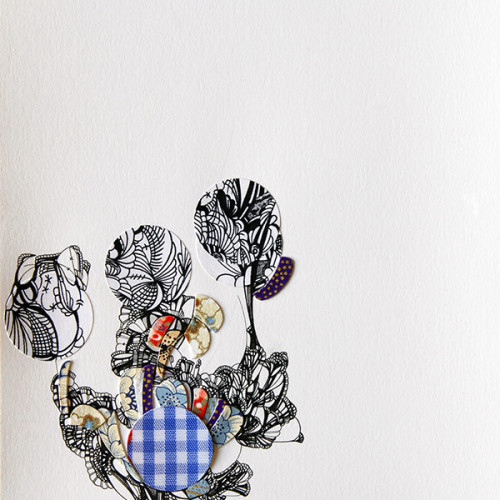 Leaking Lightbulb, Drawing, Mixed Media, Collage, Pen and Ink on Paper