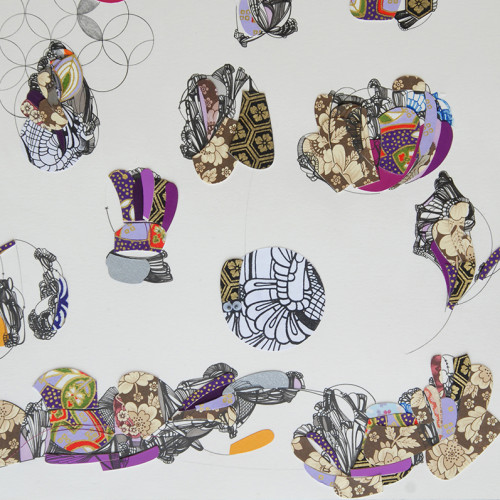 Untitled (Visits) (detail), Drawing, Pen and Ink on Paper, Mixed Media, Collage