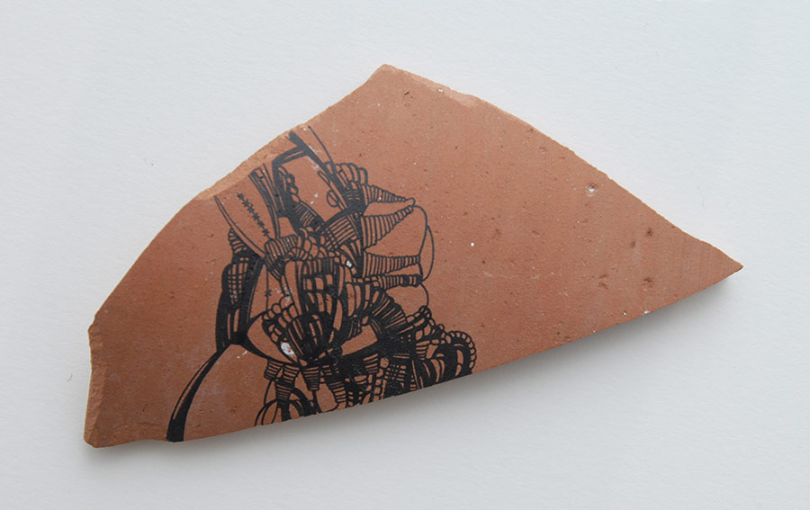 Untitled (Shard), Automatic Pen and Ink Drawing on Found Object