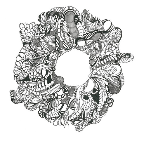 Ring, Automatic Drawing, Pen and Ink on Paper
