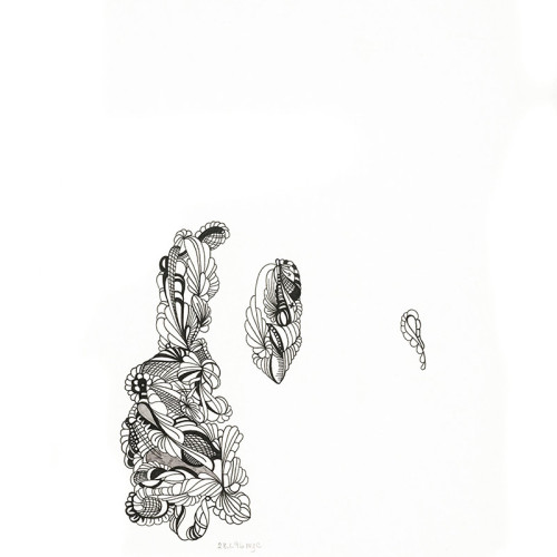 Three Orgs, Automatic Drawing, Pen and Ink on Paper